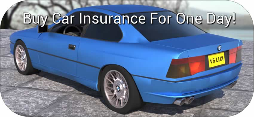 Car with banner 'buy car insurance for one day'